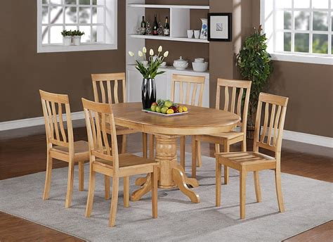 Oak Kitchen Table And Chairs 7pc Berlin Oval Kitchen Dinette Dining Set Table With 6 Wood Seat Chairs In Oak Ebay