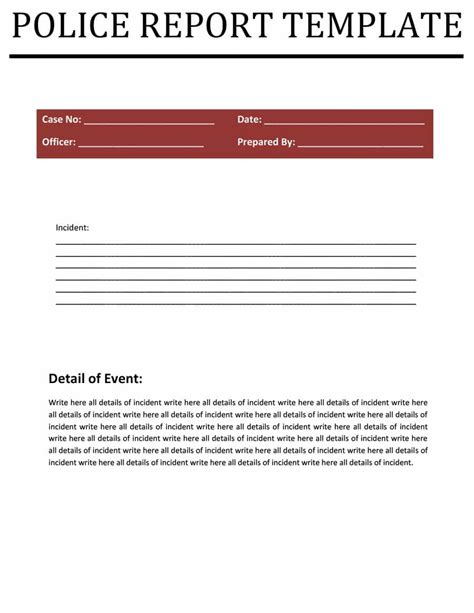 Free Police Report Template