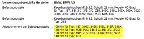 1er Bmw Alufelgen Drehmoment Anziehen by Reifenwechsel Drehmoment