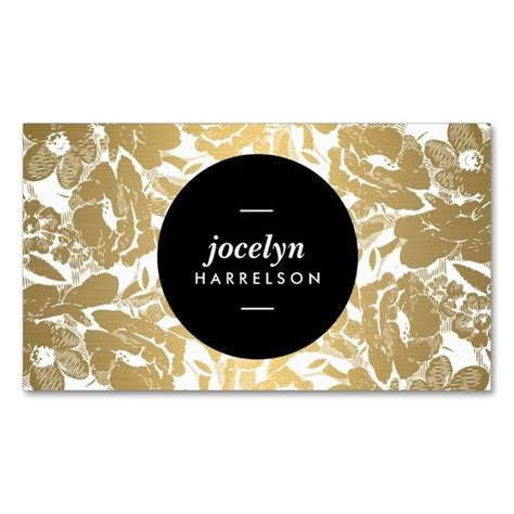 modern gold flowers black circle business card make your