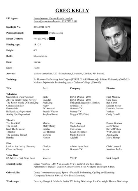 Example Of Actor Resume by Resume For Actors 21 Examples Of Actors Resumes Uxhandy Com