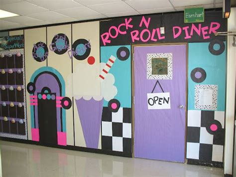 themed titles for events 50s themed school hallway decorations bulletin board