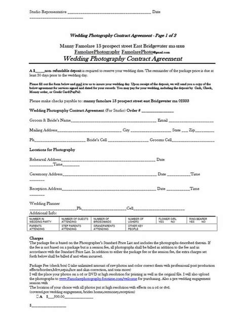 free photography contract templates 5 free wedding photography contract templates
