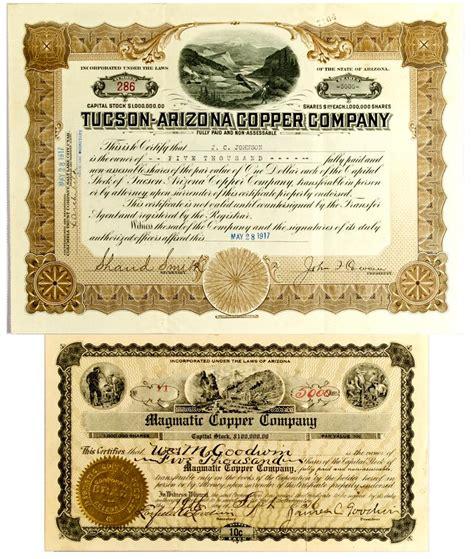 Arizona Records Certificate Az Arizona Stock Certificates