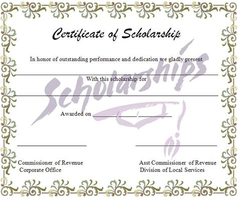 scholarship certificate template graphics and templates