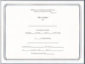 blank adoption certificate template 12 best images of blank birth certificate paper