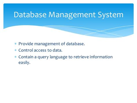 Database Management System Ppt For Mba by Basic Concept Of Database Management System Dbms