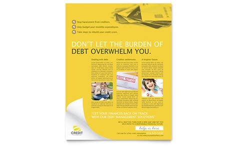 Credit Poster Template Non Profit Debt Management Templates Designs