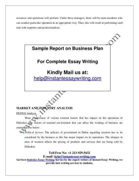 Instant Essay Writer by Sle Report On Business Plan By Instant Essay Writing