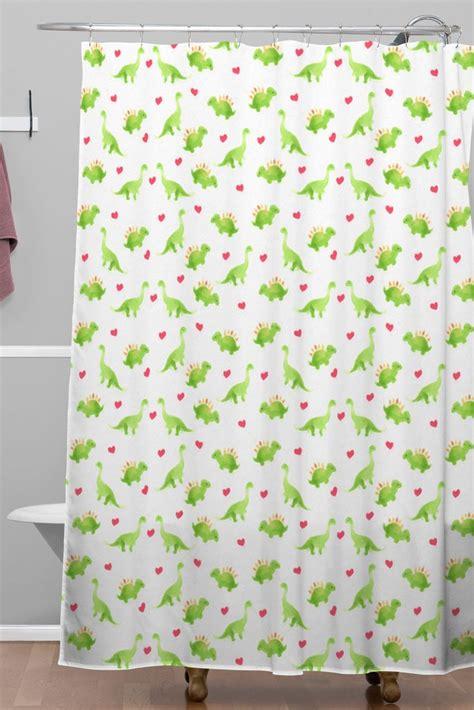 love shower curtain dinosaur love woven shower curtain wonder forest