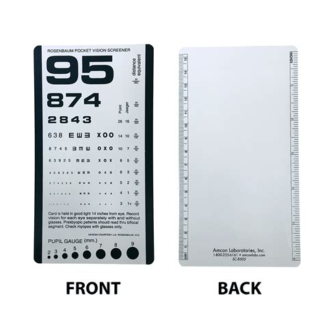 free printable pocket eye chart rosenbaum pocket vision screener eye cards eye charts