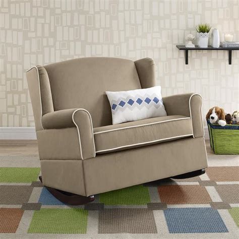 Chair And A Half Rocker by Baby Relax Lainey Taupe Wingback Chair And A Half Rocker
