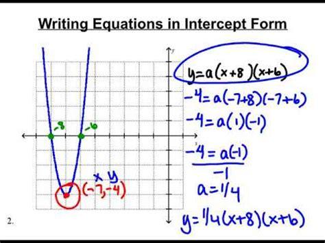 writing quadratic equation in intercept form