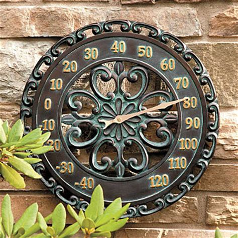 Large Outdoor Thermometer Decorative by 14 Quot Copper Verdigris Outdoor Thermometer