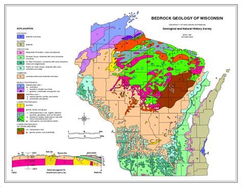 geology maps wisconsin geological history survey 187 bedrock