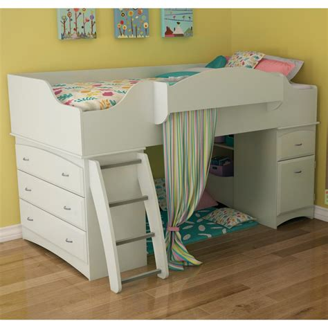 low bunk beds for kids imagine low loft bed pure white at hayneedle