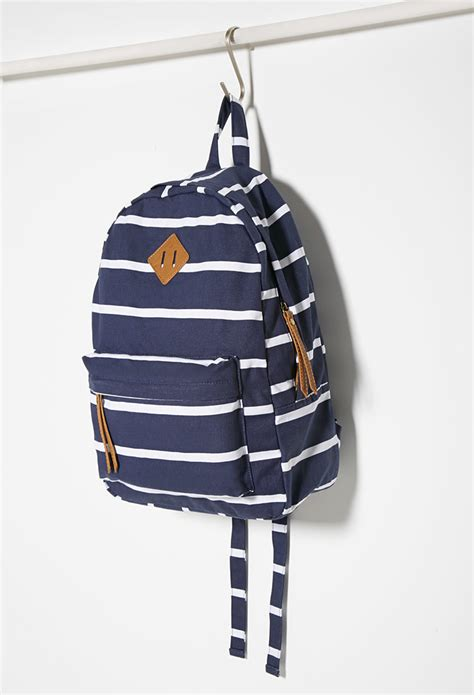Arsenal Blue Stripe Backpack forever 21 classic striped backpack in blue lyst