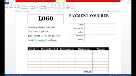 how to make payment voucher on ms word youtube