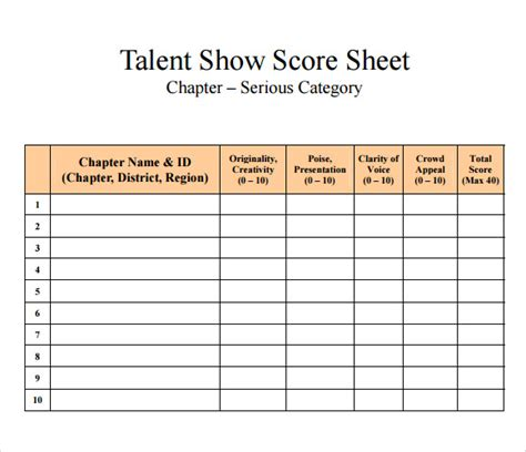 gymnastics judges score card template 9 sle talent show score sheets pdf word pages