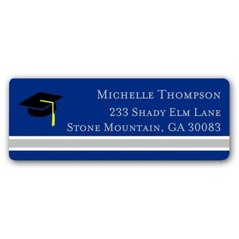 graduation silver blue return address labels paperstyle colors stripe graduation blue silver return address labels
