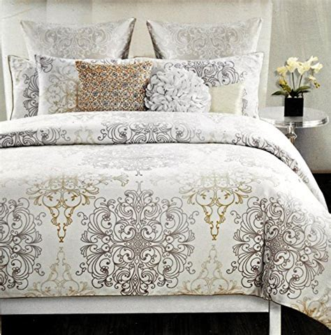 tahari bedding tahari home 3pc full queen duvet cover set large medallion