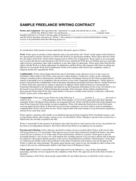 Contract Writer Resume Freelance Writer Agreement Template