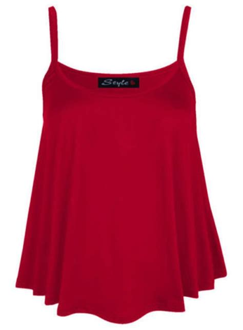 swing tops for ladies new womens plain swing vest sleeveless top strappy cami