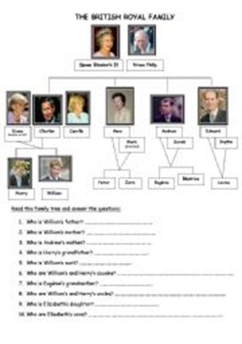 printable quiz about the royal family english worksheets british royal family