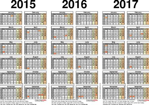 4 best images of printable 3 year calendar 2016 2017 2018