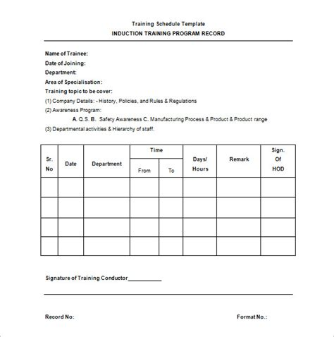 training schedule template 8 free sle exle