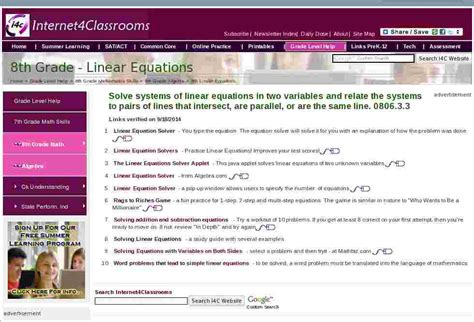 Linear Equations Algebra Eighth 8th Grade Math