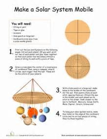 Second grade arts amp crafts worksheets solar system mobile