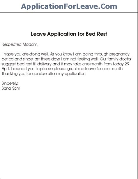 Sle Letter Granting Leave Of Absence For Visa Sle Leave Application For Bed Rest