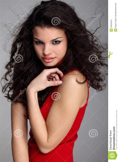 hairy curly brunette attractive curly brunette royalty free stock image