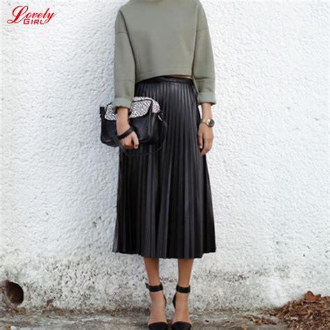 Best Seller Pleated Skirt 692 Rok Midi Rok Kerja 2015 autumn leather skirt pleated high waist