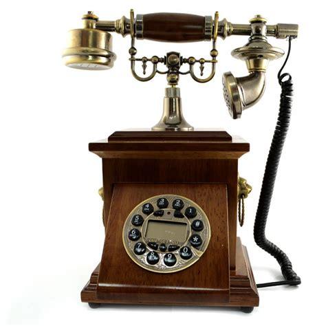 telefon retro telefon vintage cu caseta din lemn si taste din cupru