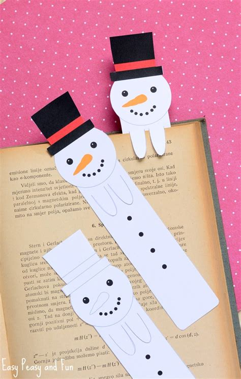 printable bookmark ideas printable snowman bookmarks easy peasy and fun