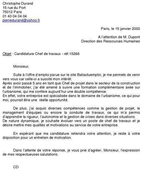 Exemple Lettre De Motivation Ecole De Commerce Master la lettre de motivation tableau de fran 231 ais exemples de lettres de motivation