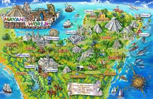 tourist map of mexico mayan mexico map illustration
