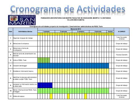 formato del cronograma de las actividades formato cronograma de actividades de un proyecto