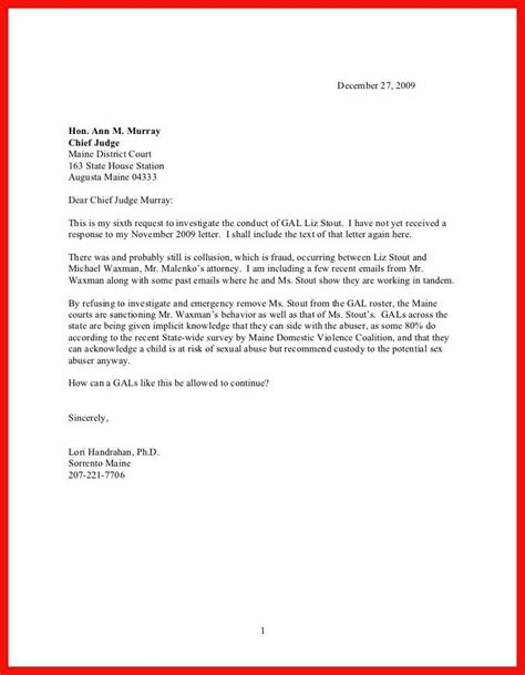 letter to judge format letter format to a judge apa exle