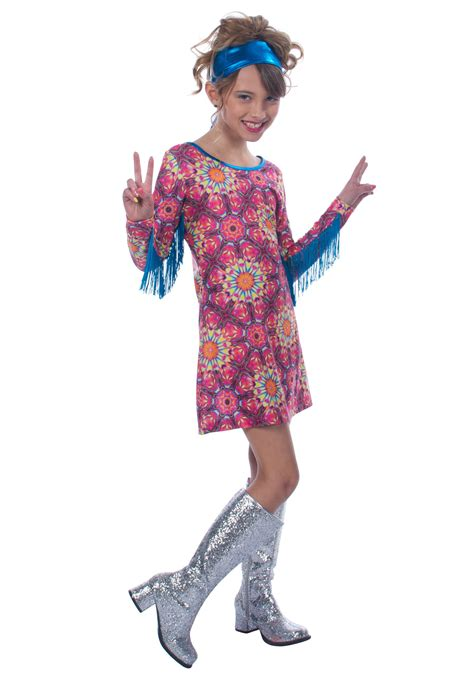Girls Flower Power Hippie Costume Halloweencostumescom | girls day dreaming hippie costume