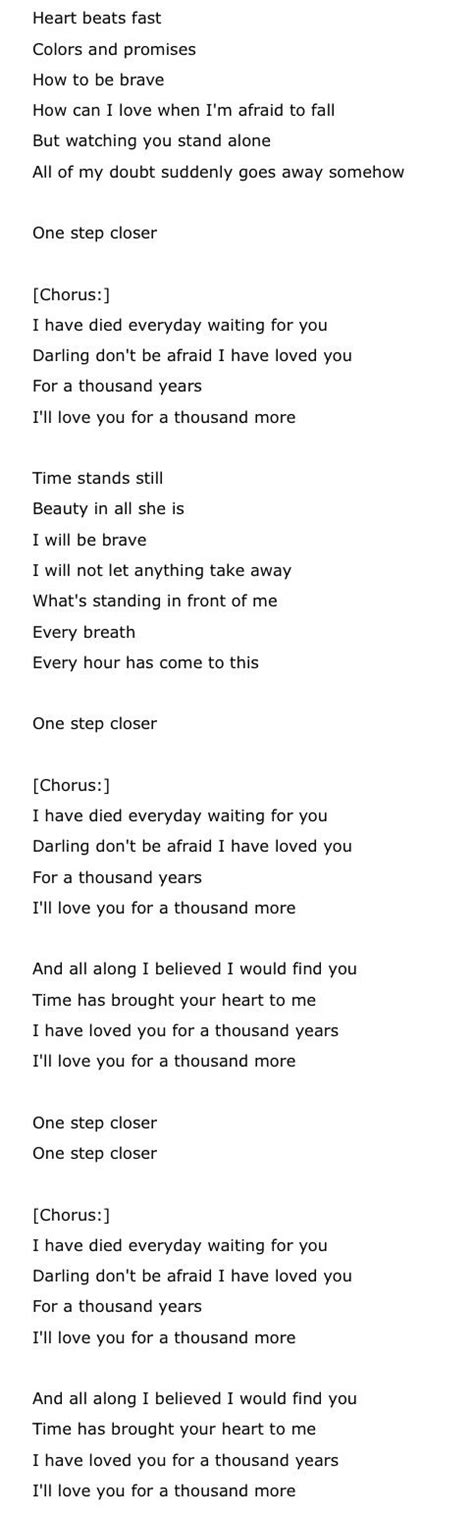printable lyrics thousand years christina perri pin by abbey phillips on music of my life pinterest