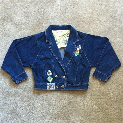 Jaket Vintage Rebel Sandwash vintage 80s rebel breasted crop denim jacket from