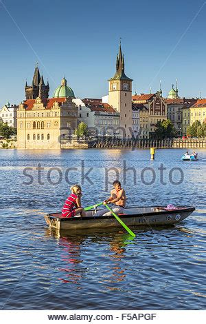 paddle boats on the vltava river tourists in pedal boats in vltava river prague czech