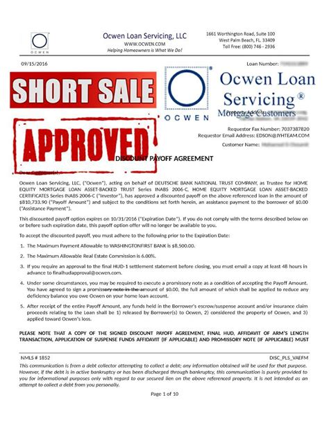 Approval Letter For Loan Sle Ocwen Sale Approval Letter Virginia Sale Specialist Top Sale
