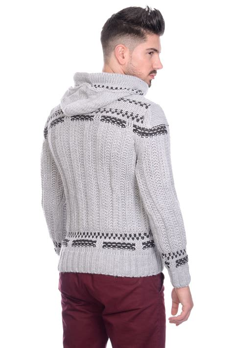thick knit sweater new brad jones mens thick cable knit hooded vintage nordic