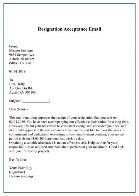 sample resignation acceptance letter template