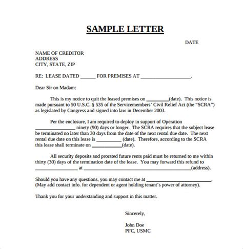 Rental Agreement Termination Letter Template Early Lease Termination Letters 9 Free Documents In Pdf Word