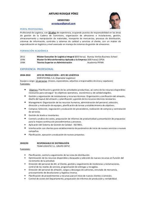 Modelo De Curriculum Vitae De Jefe De Almacen Cv Log 237 Stica
